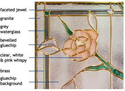 Standard Classic Stained Glass Climbing Rose Design