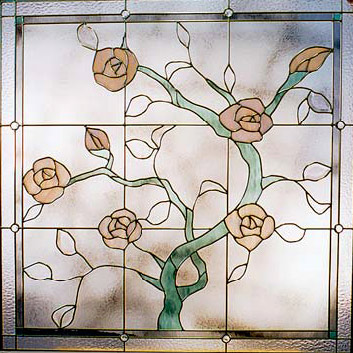 Stained Glass Gardenview Climbing Rose Design cr106 Detail