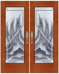 Carved and Sandblasted Glass Door SBCV