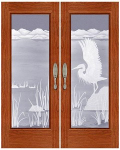 Carved and Sandblasted Glass Door - SBWLB