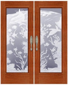 Carved and Sandblasted Glass Door - SBWLC