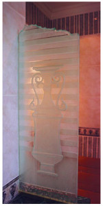 Custom Sandblasted Glass Chiseled Top