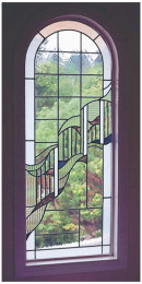Custom Stained Glass Exterior Window Flowing Design