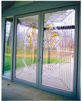Custom Stained Glass Door Geometrically Pattern