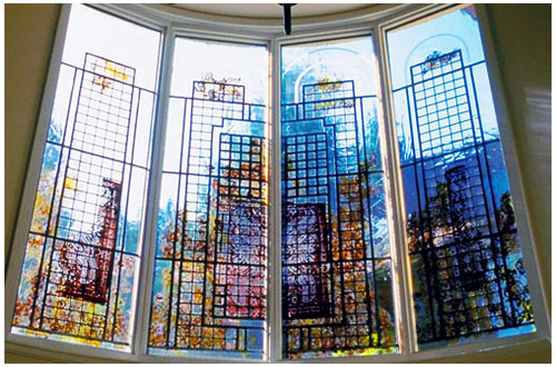 Custom Stained Glass Linear Design